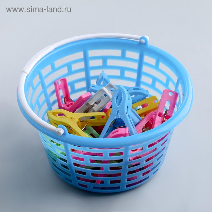 Набор прищепок в корзинке 17х12х8 см, 24 шт (5,5х1 см), цвет МИКС