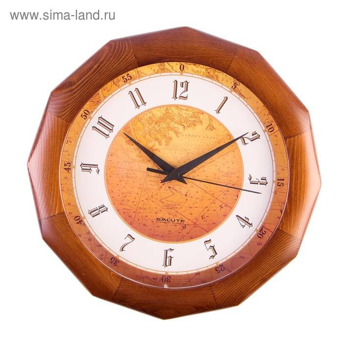 Часы настенные деревянные Сюжетные ДС-ДБ28-128 Карта дерево