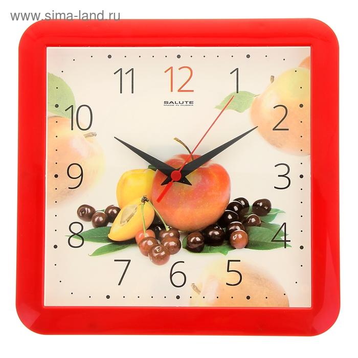 "Часы настенные квадратные ""Фрукты"", кухонные"