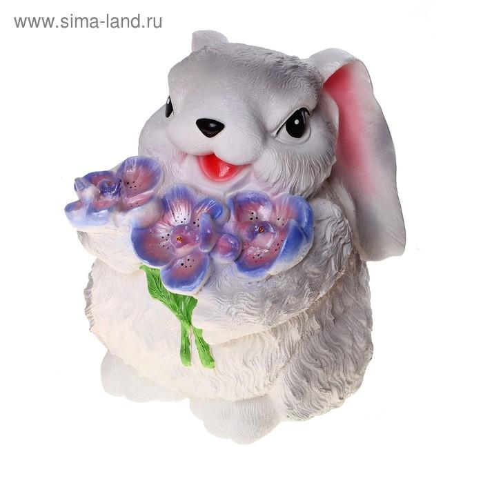 """Копилка """"Кролик с цветком"""" большая, серая"""