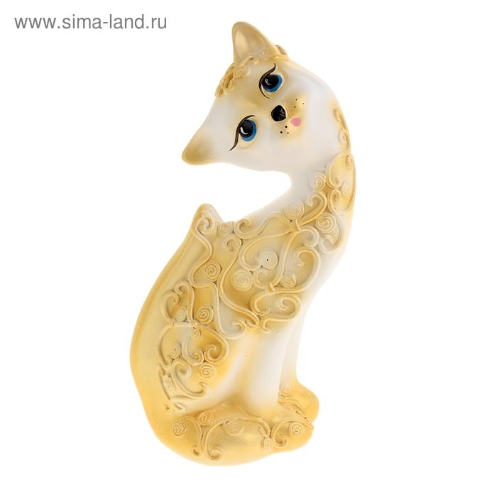 """Сувенир """"Кошка Алёнка"""" Розы белая с золото"""