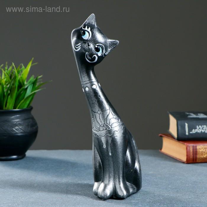 """Сувенир """"Кошка девочка"""" черная с серебром"""