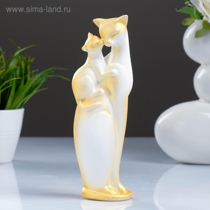 """Сувенир """"Кошка с Котенком"""" белая с золотом"""