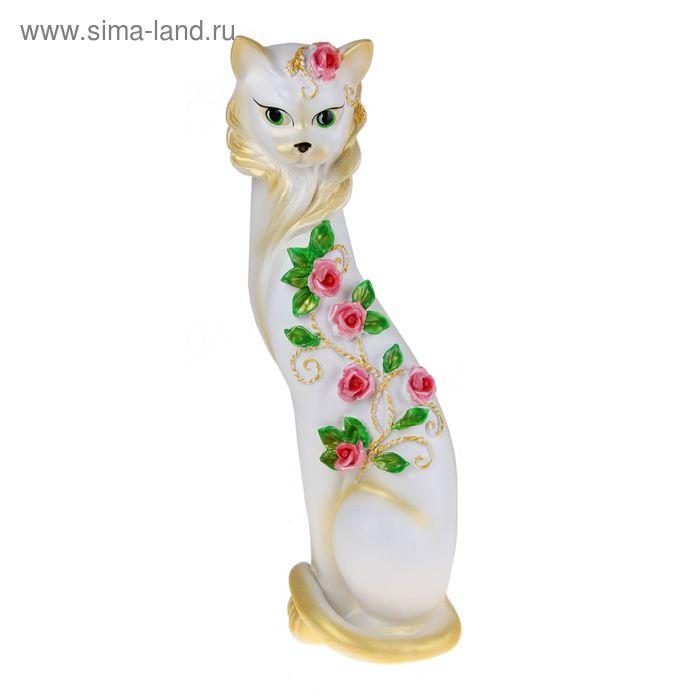 """Сувенир """"Кошка Маркиза"""" с китайскими розочками белая с золотом"""
