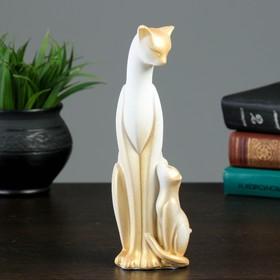 """Сувенир """"Кошка Багира с ребёнком"""" малая сидячая новая, белая с золотом"""