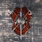 Сувенирное оружие «Геральдика на планшете» с изображением медузы Горгоны, меч и два топора