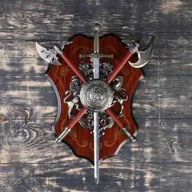 Сувенирное оружие «Геральдика на планшете» с изображением медузы Горгоны, меч и два топора Ош