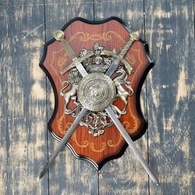 Сувенирное оружие «Геральдика на планшете» с изображением медузы Горгоны, два меча Ош