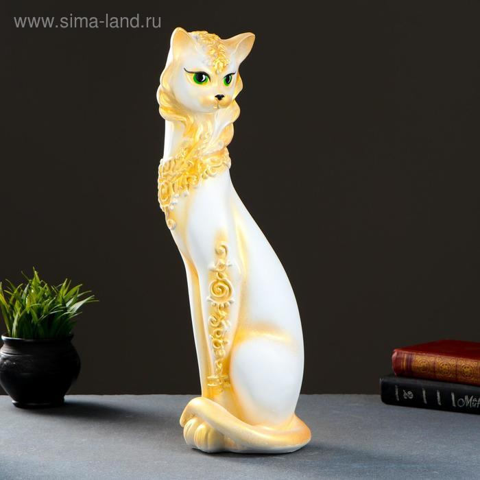 """Сувенир """"Кошка Маркиза"""" орнамент, белая с золотом"""