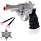 "Пистолет ""Шериф"", со значком, стреляет присосками, МИКС"