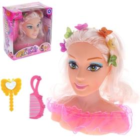 """Кукла манекен для создания причесок """"Маленький парикмахер"""" с аксессуарами, звуковые эффекты, работает от батареек"""