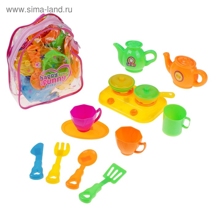 """Набор посуды """"Приятного аппетита"""", в рюкзаке, 13 предметов"""