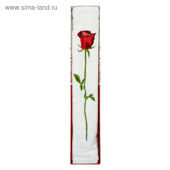 Полотенце для лица махровое LiYA Rose в коробке 50*90см белый 500 гр/м