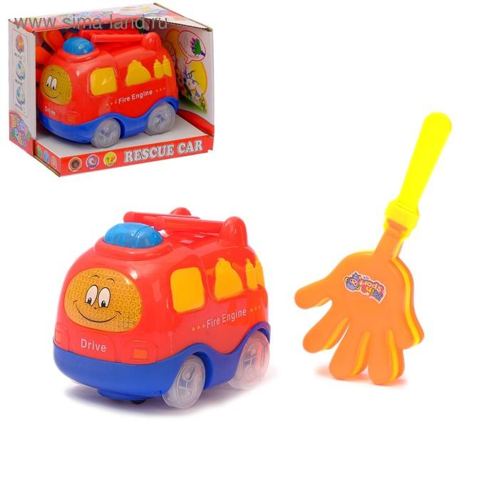 """Машина """"Пожарная охрана"""", работает от батареек, световые и звуковые эффекты, реагирует на хлопок ладошки"""