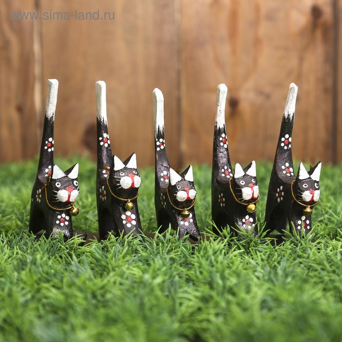 """Подставка для колец """"Котики в цветочках/полоску"""", набор 4 шт."""