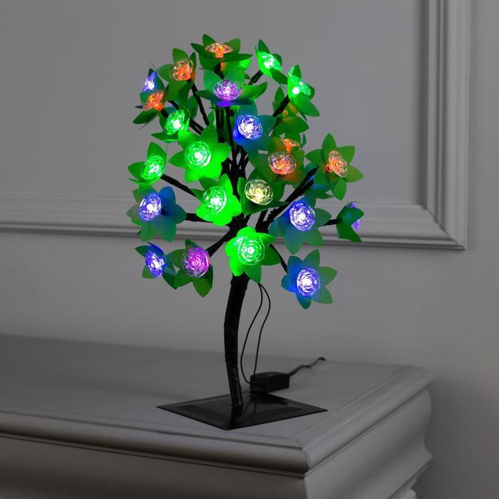 """Светодиодный куст уличный 0.3 м, """"Цветы"""", 32 LED, 220V, моргает МУЛЬТИ"""