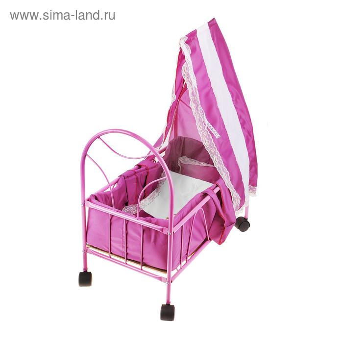 Кроватка для кукол № 6 с балдахином, цвета МИКС