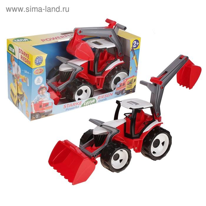Трактор с грейдером и ковшом красно-белый