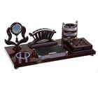 Набор настольный «Плетение»: часы, блок для бумаги, визитница, подставка для ручек, лоток для скрепок, отделение для мелочей