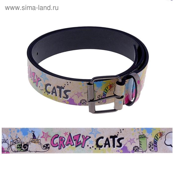 Ремень женский с нанесением Crazy cats