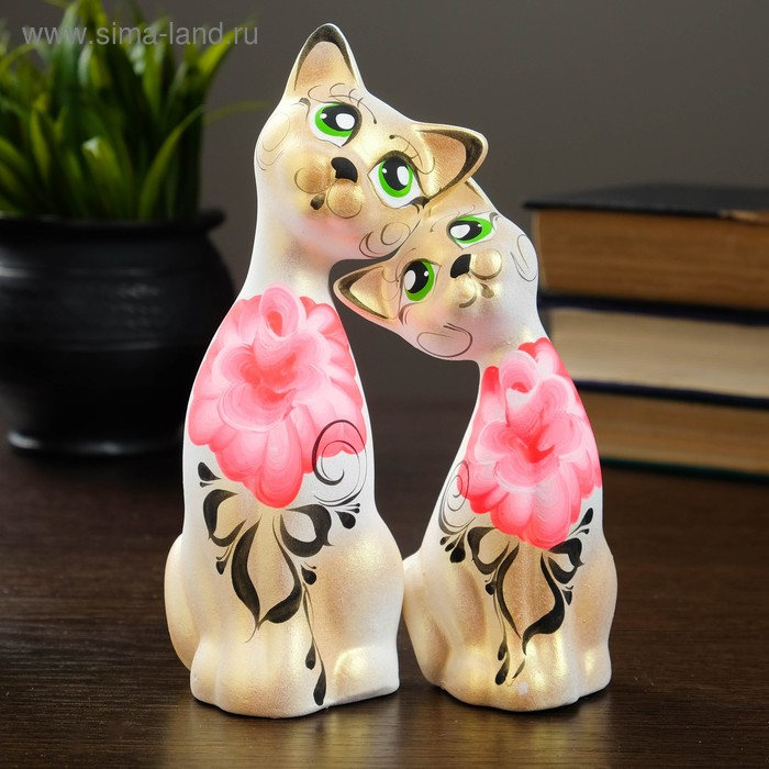 """Сувенир Набор """"Love Коты"""" ушастые, 2 шт белый, золото"""