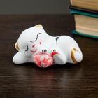 """Сувенир """"Котик с мячом"""" лежа, белый, микс"""