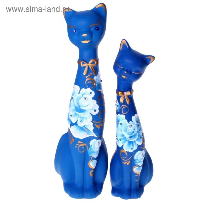 """Сувенир """"Love Коты"""" большие со стразами, набор 2 шт. синие, 7 х 7 х 21,5 см и 8,5 х 8 х 25,5 см"""