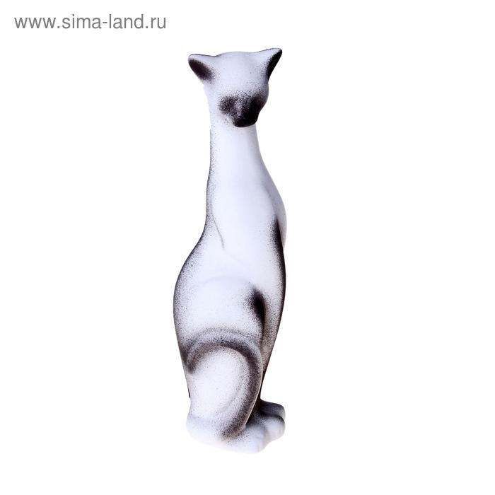 """Сувенир """"Кошка Багира"""" наклоненная, подпал бело-черная"""