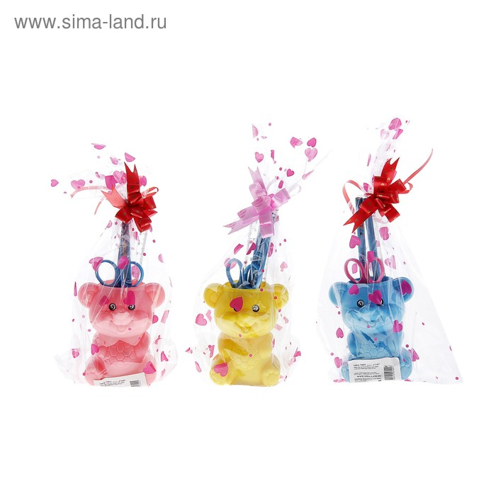 """Настольный набор детский """"Мишка"""" из 5 предметов: подставка, ножницы, линейка, 2 карандаша, МИКС"""
