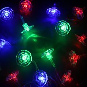 """Гирлянда """"Метраж"""" с насадкой """"Цветочки"""" 5 м, силикон, LED-20-220V, моргает, МУЛЬТИ"""