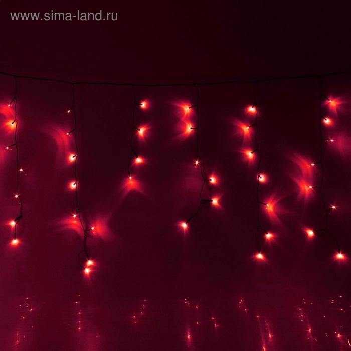 """Гирлянда """"Бахрома"""" Ш:1,2 м, В:0,6 м, нить темная, LED-60-220V, контр. 8 р. КРАСНЫЙ"""