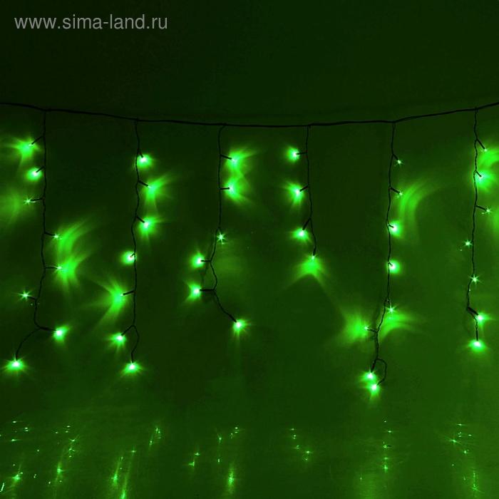 "Гирлянда ""Бахрома"" Ш:2,4 м, В:0,6 м, нить темная, LED-120-220V, контр. 8 р. ЗЕЛЕНЫЙ"