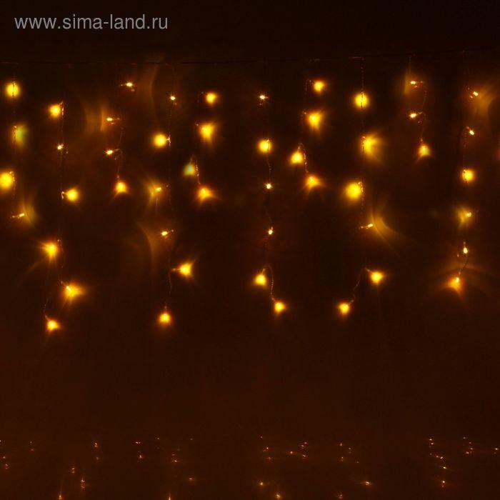 "Гирлянда ""Бахрома"" Ш:2,4 м, В:0,6 м, нить силикон, LED-120-220V, контр. 8 р. ЖЕЛТЫЙ"