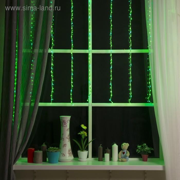 """Гирлянда """"Дождь"""" Ш:1,5 м, В:1 м, нить силикон, LED-300-220V, контр. 8 р, ЗЕЛЕНЫЙ"""