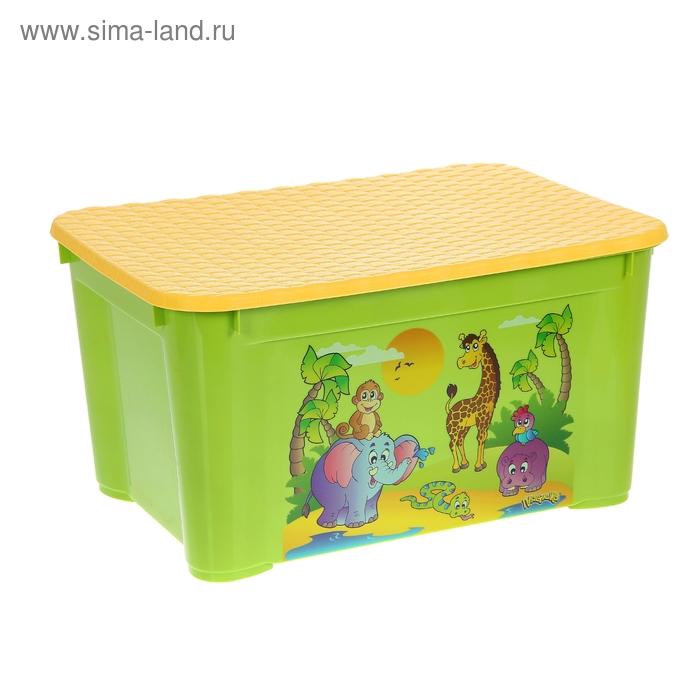 """Ящик для игрушек """"Африка"""" с аппликацией, с крышкой, цвет оранжевый"""