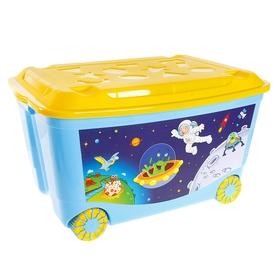 Ящик для игрушек с аппликацией на колёсиках, с крышкой, 50 л, цвет голубой МИКС