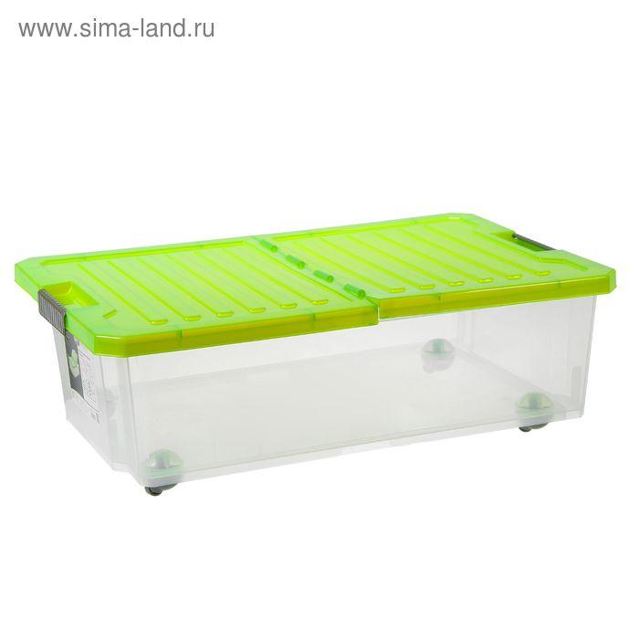 Контейнер для хранения 30 л Unibox прямоугольный, со складной зелёной крышкой