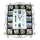 """Часы настенные """"Стильный век"""", чёрно-белые, ковка по бокам + 14 фоторамок 10 × 10 см"""