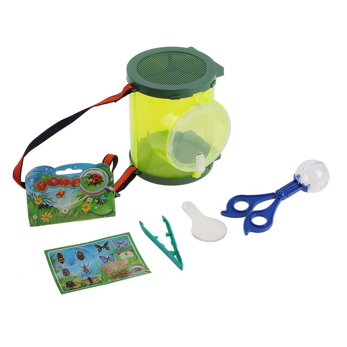 Набор юного натуралиста: контейнер для хранения, пинцет, наклейки, держатель, лопаточка