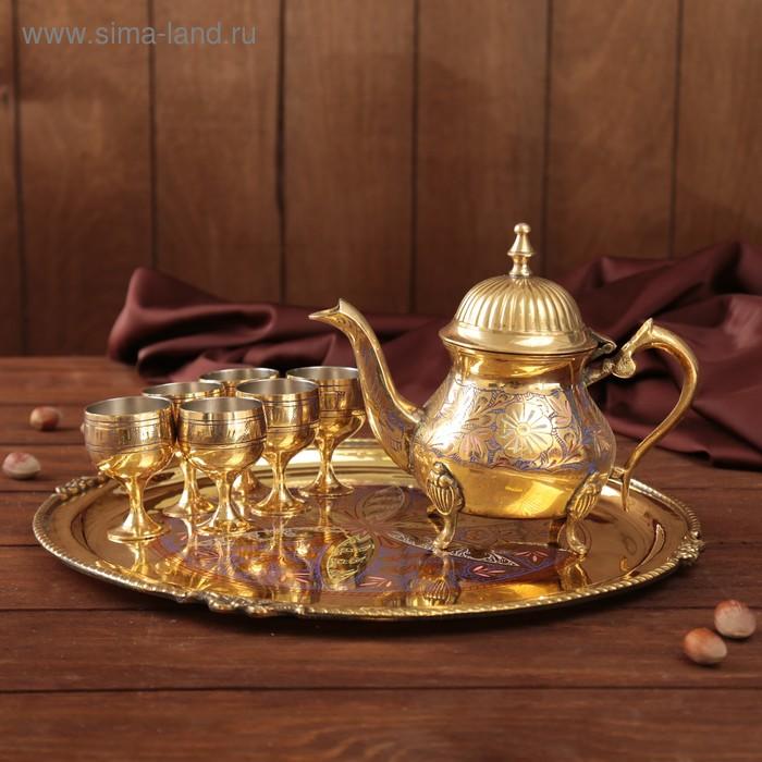 """Набор посуды с цветной эмалью """"Весеннее настроение"""": поднос, 6 чашечек, чайник"""