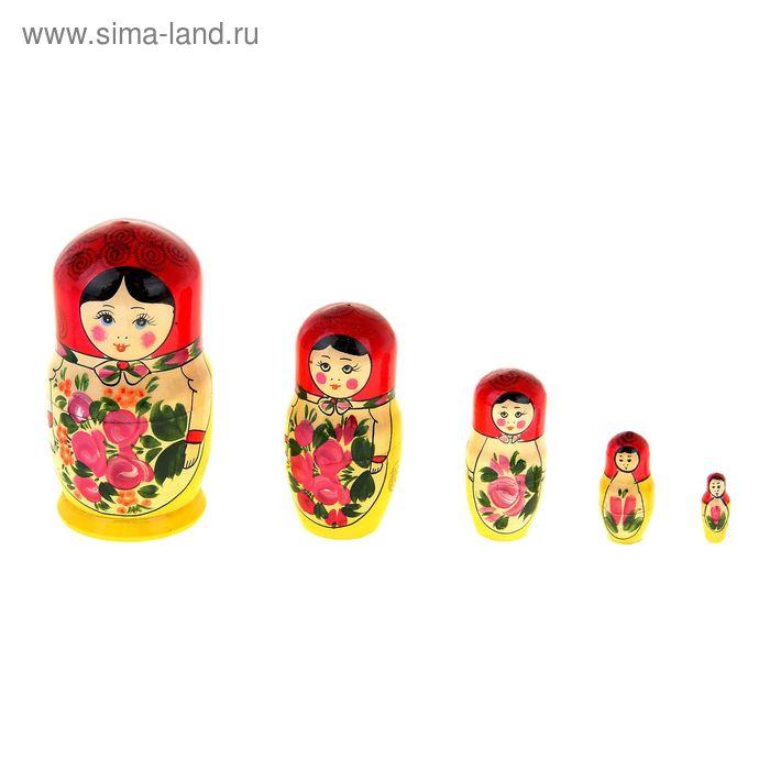 """Матрешка """"Традиционная"""", 5 кукольная, красный платок"""