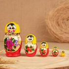 Матрёшка «Розочка», желтый платок, 5 кукольная, 10 см