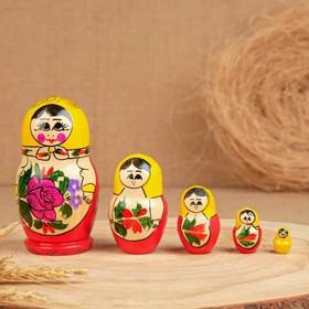Матрёшка «Розочка», жёлтый платок, 5 кукольная, 10 см