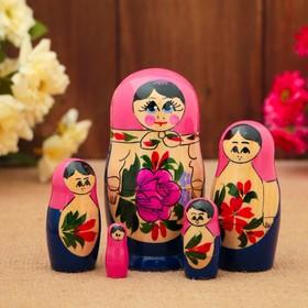 Матрёшка «Розочка», розовый платок, 5 кукольная, 10 см