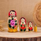 Матрёшка «Розочка», традиционная, красный платок, 4 кукольная, 9 см, микс