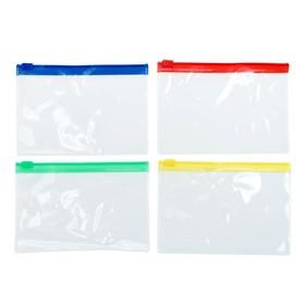 Папка-конверт на молнии формат А6 120мкр прозрачная молния МИКС 13*9см