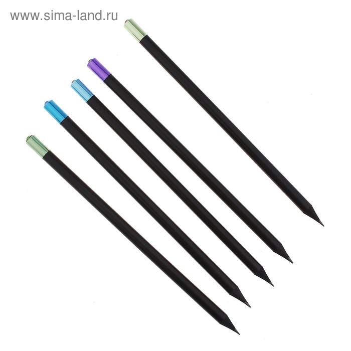 Карандаш чернографитный НВ корпус черный заточенный со стразой и цветным наконечником МИКС