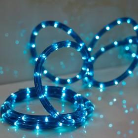 LED шнур 13 мм, круглый, 10 м, чейзинг, LED/м-24-220V, с контролл. 8р, синий