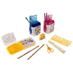 """Настольный набор детский """"Пенал-трансформер"""" из 7 предметов: подставка, ножницы, линейка, 2 карандаша, точилка, трафарет, МИКС"""