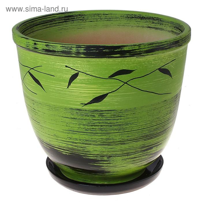 """Кашпо """"Листья"""" чёрно-зелёное 7,5 л"""